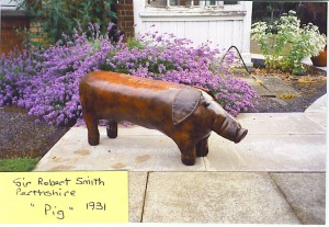 An Original Omersa and Co Leather Pig Footstool